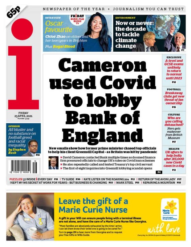 The i front page 23.04.21