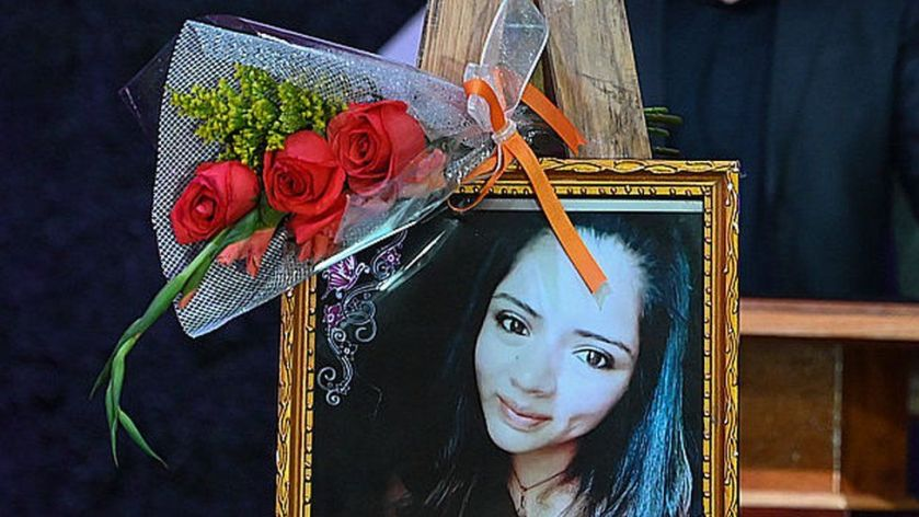 View of a picture of Nurse Keyla Martinez during her funeral in La Esperanza, Honduras, on February 9, 2021