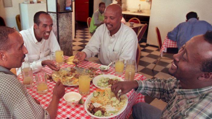 Men at a Somali restaurant in the US - archive shot