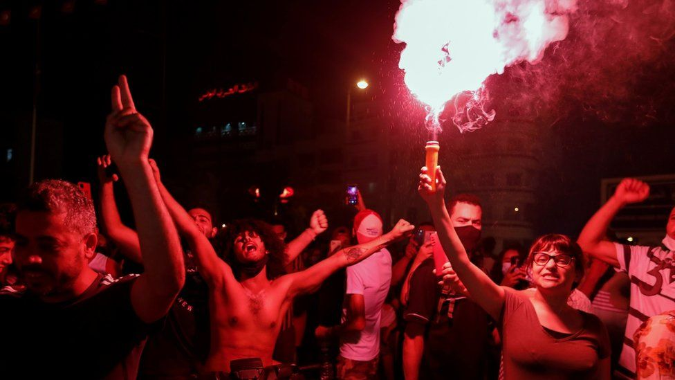 Protesters in Tunis, Tunisia. Photo: 25 July 2021