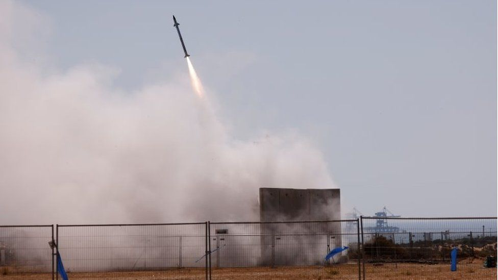 Israel's Iron Dome anti-missile system fires to intercept a rocket launched from the Gaza Strip towards Israel, as seen from Ashkelon, Israel May 12, 2021