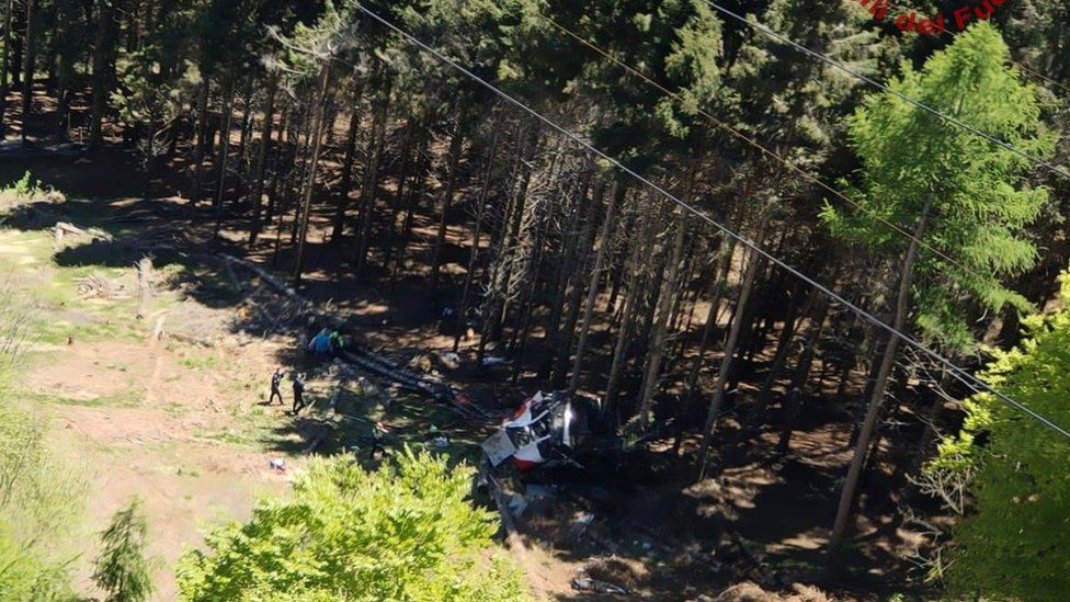 Social media image showing wreckage of cable car posted by emergency services