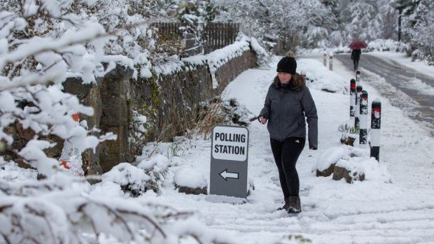 A polling station in the village of Farr, near Inverness