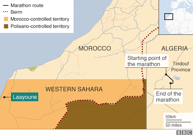 Map showing location of marathon and disputed territories