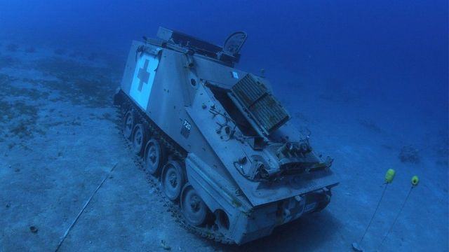 Jordanian Armed Forces' armoured vehicle lies on the seabed of the Red Sea off the coast of the southern port city of Aqaba