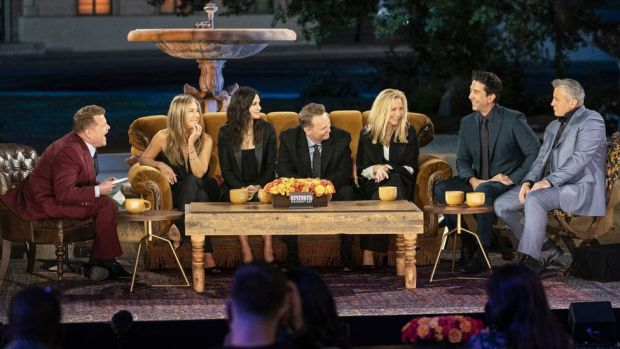 James Corden with the cast of Friends