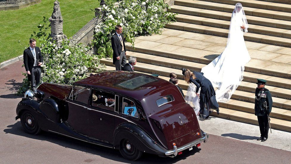 Meghan Markle arriving at her royal wedding ceremony