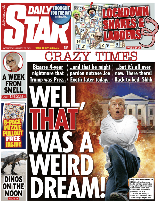 Daily Star front page - 20/01/21