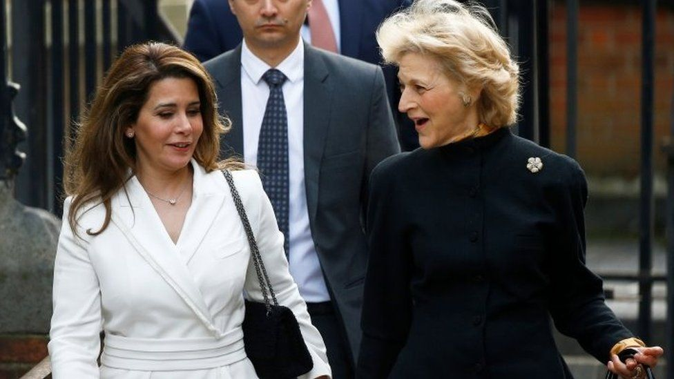 Princess Haya and Baroness Fiona Shackleton arrive at the High Court hearing in London in February 2020