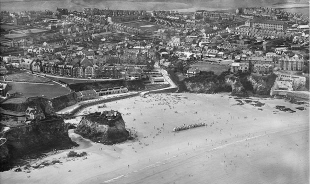 An aerial view of The Island and Towan Beach, Newquay, taken in August 1932