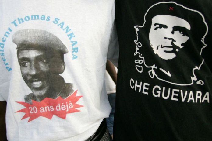 People wear T-shirts commemorating Che Guevara and Thomas Sankara in Ougadougou in 2007.
