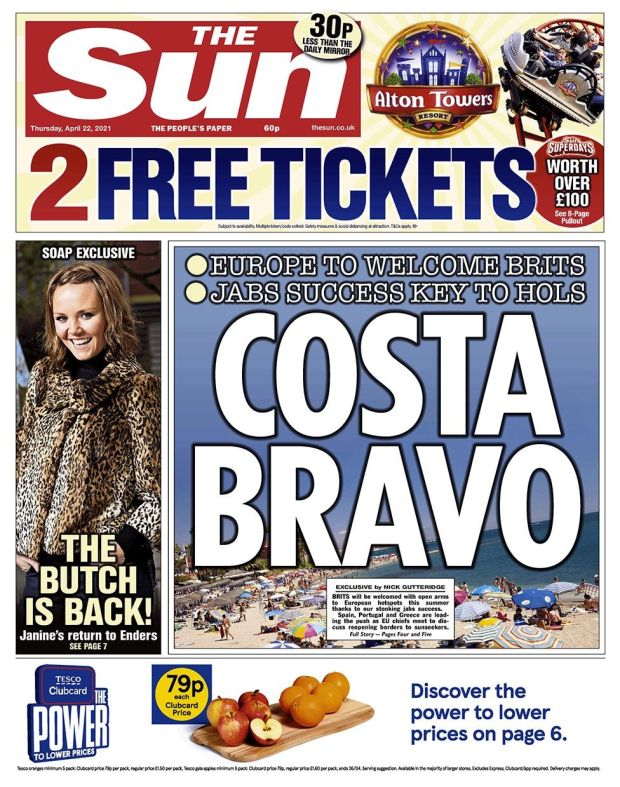 The Sun front page 22.04.21
