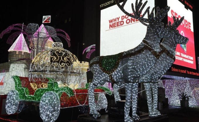 Christmas illuminations are seen in the streets of Lagos, Nigeria - 17 December 2019
