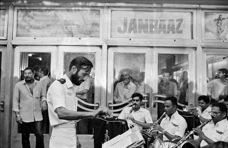 The navy band performs ahead of the premiere of the movie Janbaaz at Metro Cinema, 1986