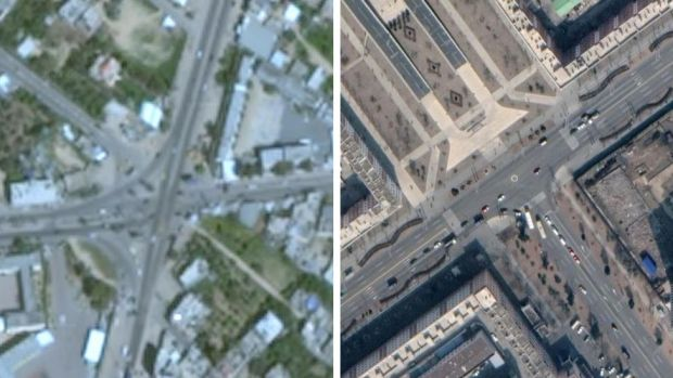 Google Earth image of Gaza on the left, and on the right an image of Pyongyang, North Korea.