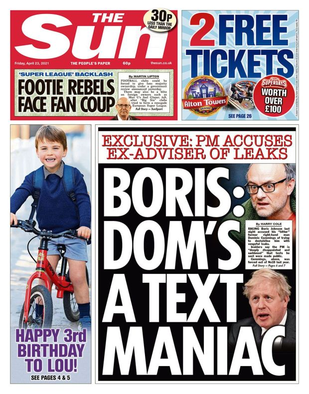 The Sun front page 23.04.21