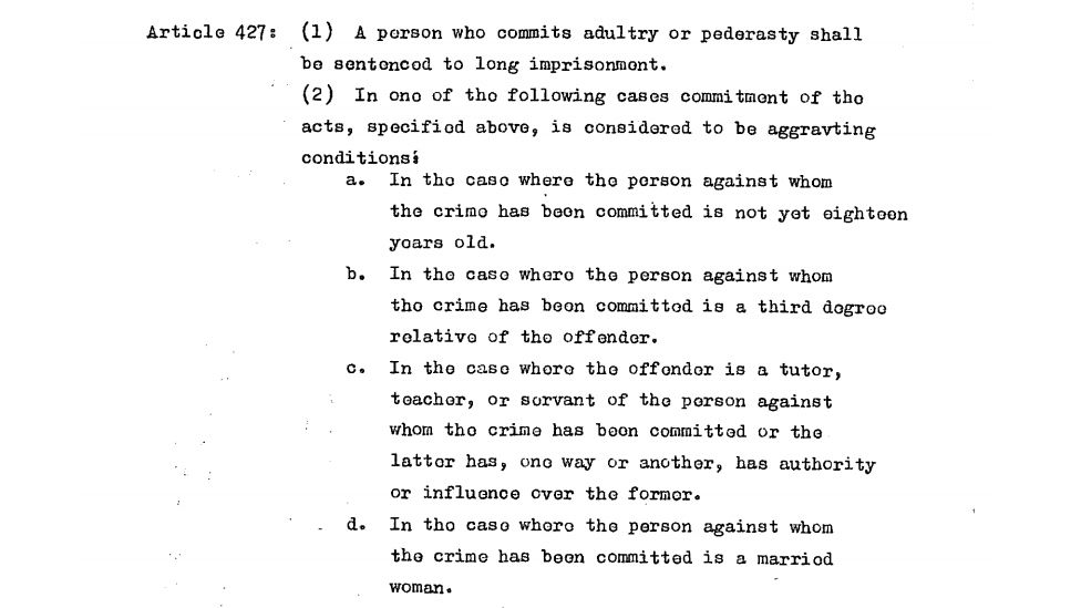 Article 427 of the Afghan Penal code mentions pederasty as a crime