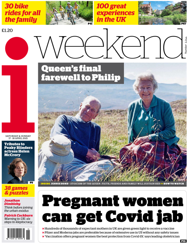The i weekend front page 17 April 2021