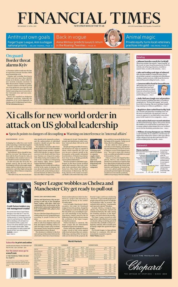 Financial Times front page 21.04.21