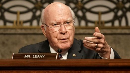 Sen Patrick Leahy questions Former Deputy Attorney General Rod Rosenstein during a Senate Judiciary Committee hearing