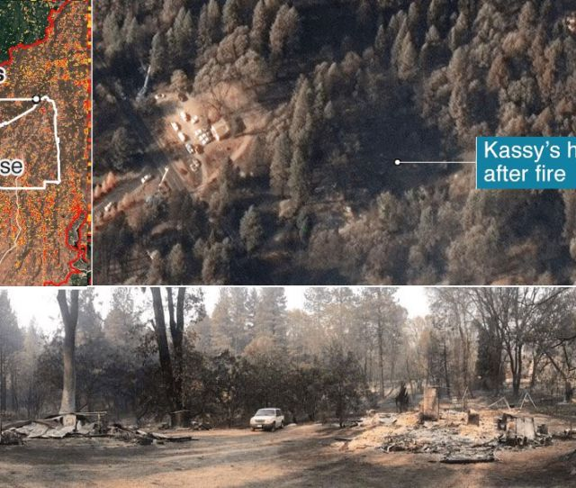 Photo Composite Showing Kassys House After The Fire From Above And On The Ground
