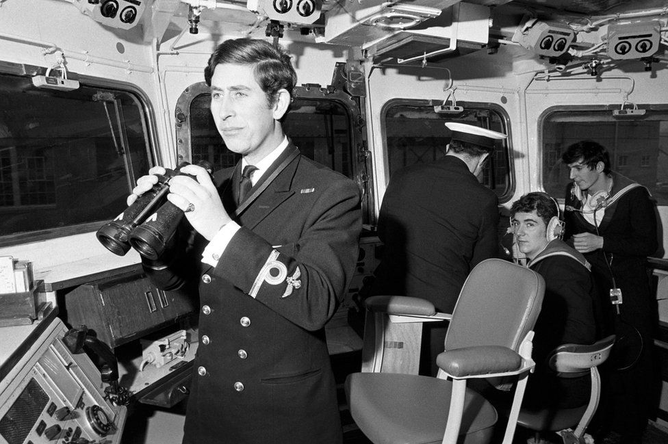 Prince of Wales serving as a sub-lieutenant on the bridge of the frigate Minerva