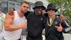 Thor stars Chris Hemsworth, Idris Elba and Matt Damon at a party in Sydney