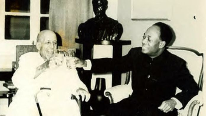 WEB Du Bois (L) and Ghana's President Kwame Nkrumah toasting to Du Bois's 95th birthday in 1963