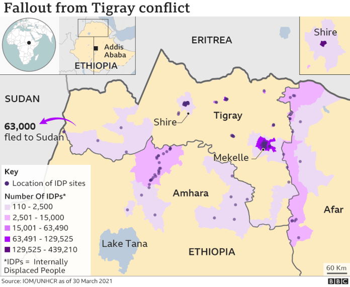 Map of IDP situation in Ethiopia
