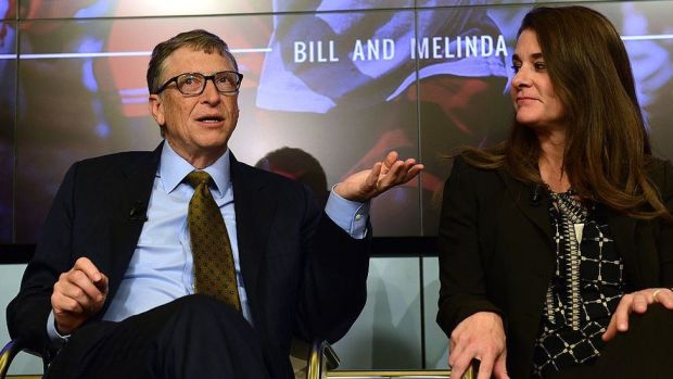Bill and Melinda Gates take part in a discussion in Brussels organised by British magazine The Economist about expected breakthroughs in the next 15 years in health, education, farming and banking, 2015