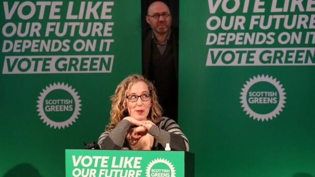 Scottish Green Party co-leaders Lorna Slater and Patrick Harvie on the campaign trail for the Green party at the National Piping Centre in Glasgow for the Scottish Parliamentary election. Picture date: Friday March 26, 2021.