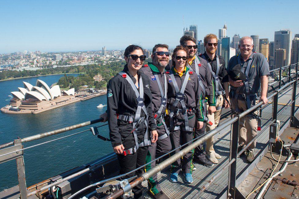 "Britain""s Prince Harry on the Sydney Harbour Bridge in Sydney, Australia October 19, 2018"