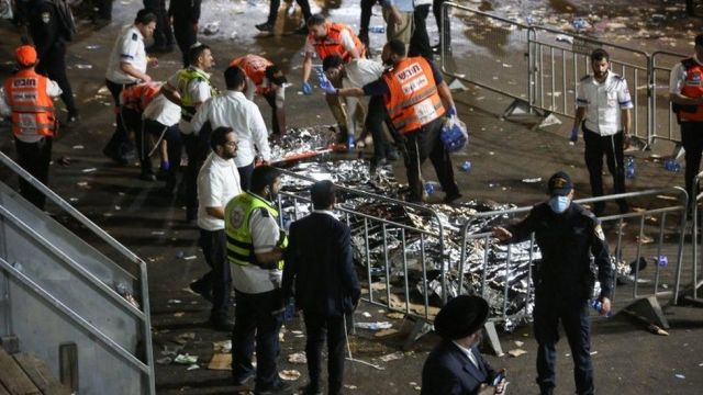 Bodies lie on the ground in Meron after a stampede at a religious festival
