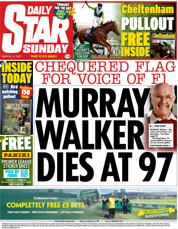 The Daily Star Sunday front page 14 March 2021