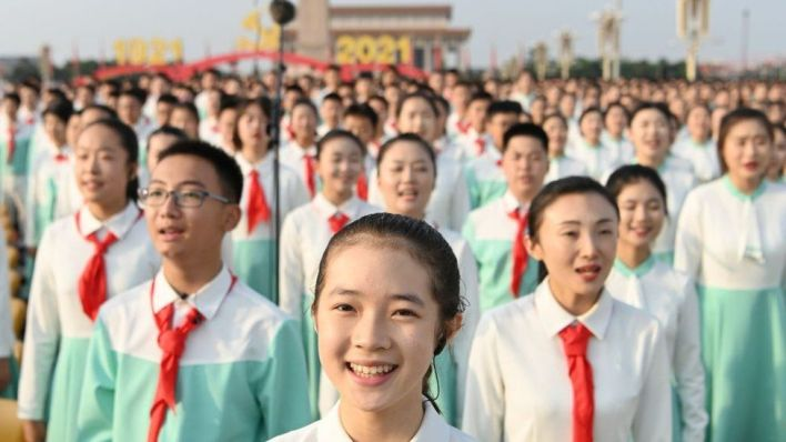 A chorus performs during a ceremony celebrating the centenary of the Communist Party of China (CPC) at Tian'anmen Square on July 1, 2021 in Beijing, China.