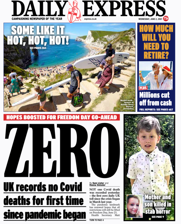 Daily Express front page 02/06/21