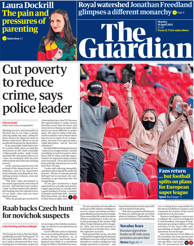The Guardian front page 19 April 2021