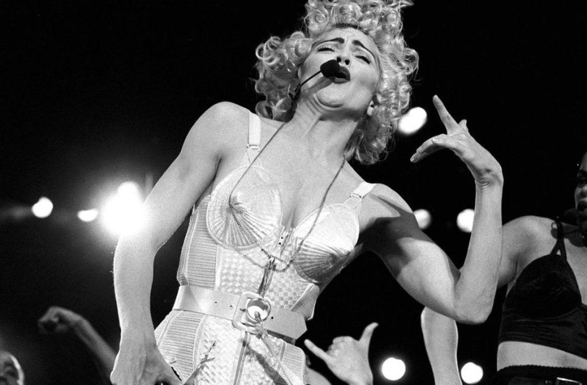 Madonna performs in concert in 1990