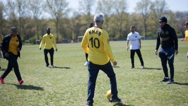 Sadiq Khan plays football with members of Hackney Wick FC