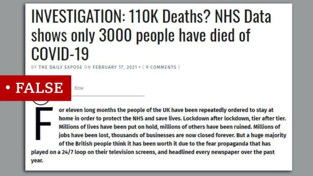"""Article makes false claim about covid death toll. Claim the true figure is 3,000. We added """"false"""" label."""