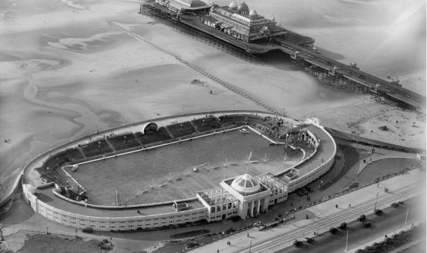 An aerial view of The Open Air Swimming Baths and Victoria Pier in Blackpool, Lancashire, taken in September 1929