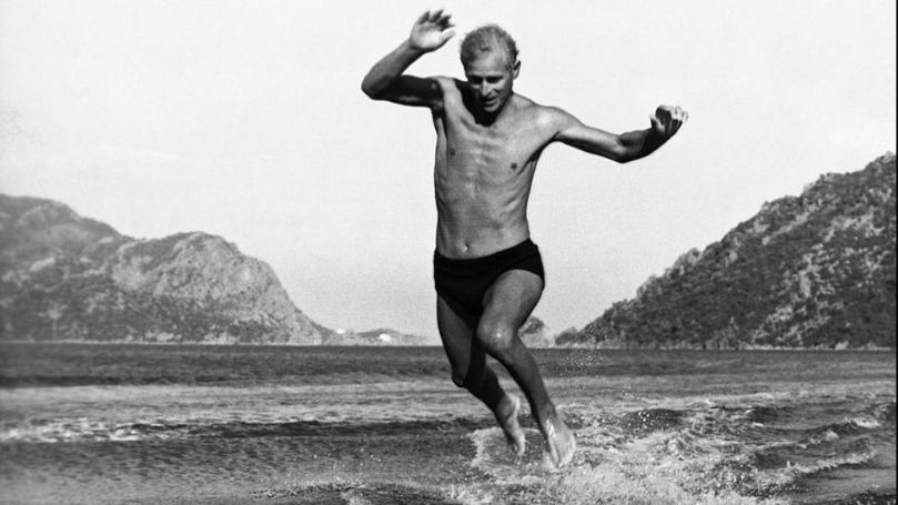 The Duke of Edinburgh jumping off the water skis