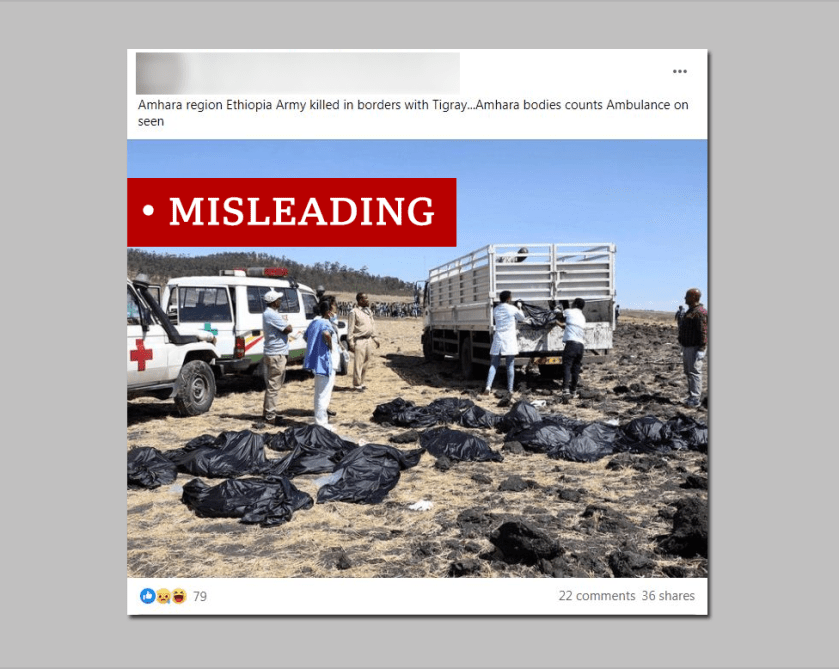 "Screen grab of air crash labelled ""misleading"
