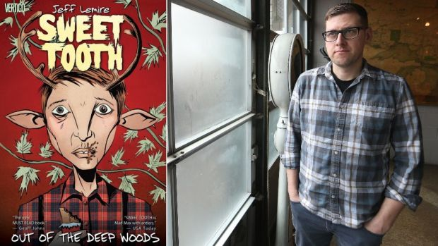 The front cover of Sweet Tooth comic and Jeff Lemire