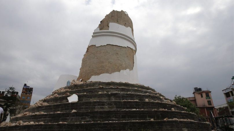 Ruins of the Dharahara Tower, Kathmandu after the earthquake on 25 April 2015