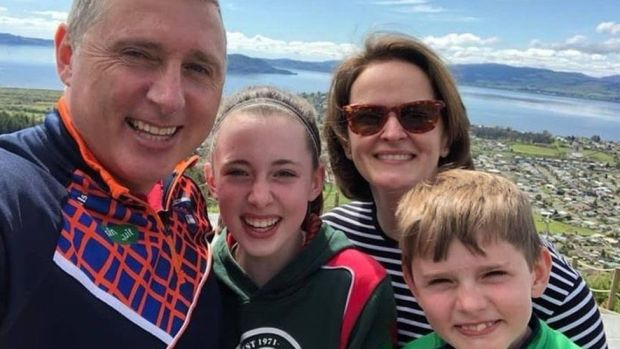 Anita Downey with her family in New Zealand