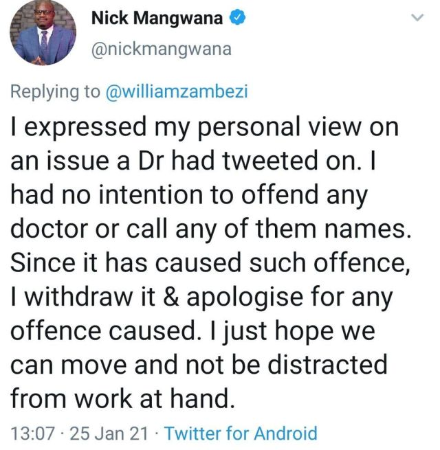 A screenshot of the since-deleted tweet by Nick Mangwana