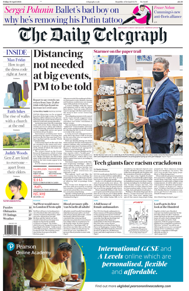 The Daily Telegraph front page 30 April 2021