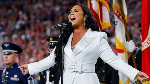 Demi Lovato performs the national anthem before the 2020 Super Bowl