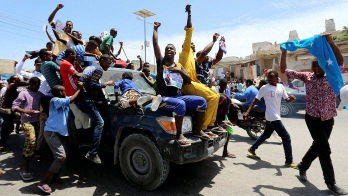 People celebrating the presidential election result in Mogadishu, Somalia - Thursday 9 February 2017